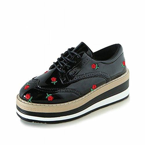 Zapatos Sueltos Las Mujeres Británicas Levantaron la Pendiente con un Solo Zapato Zapatos Casuales Gruesos Bordados , rojo , EUR 35.5