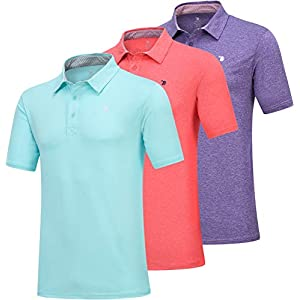 JINSHI Men's Athletic Loose Performance Fit Short Sleeve Classic Golf Polo Shirt 22