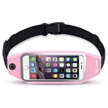 uFashion3C Universal Running Belt Pouch Case/ Waist Fanny Pack for iPhone 6, 6S, 6 Plus, 6S Plus, Galaxy S5, S6, S7,Edge, Note 4, 5, LG G3, G4 G5 with OtterBox/ LifeProof Waterproof Case (Light Pink)