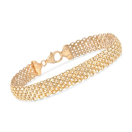 (Ross-Simons Italian 14kt Yellow Gold Multi-Row Bismark-Link Bracelet )