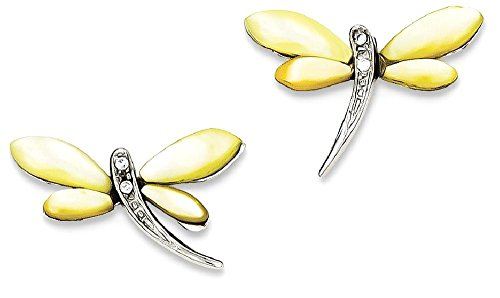 925 Sterling Silver Cz/yellow Mother Of Pearl Dragonfly Post Stud Earrings Ball Button Animal Insect Fine Jewelry For Women Gifts For Her