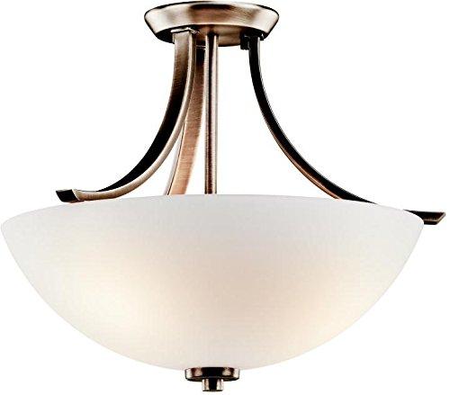 Kichler 42563BPT, Granby Round Glass Semi Flush Ceiling Lighting, 3 Light, 225 Watts, Brushed Pewter