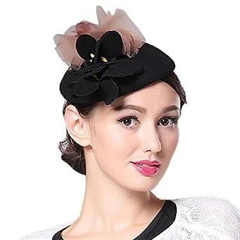HappyShopDecoration Fascinator Hat Womens Elegant Wool Hat with Veil Ladies Wedding Bridal Headgear