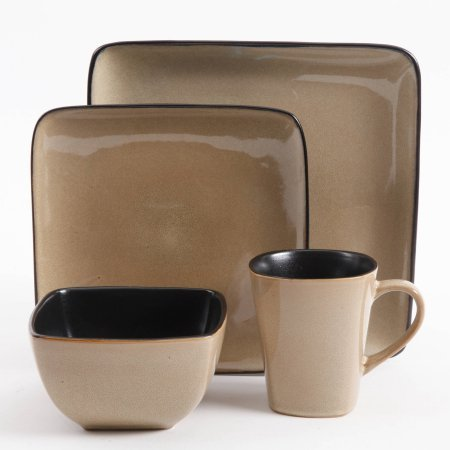 Amazon.com: Gibson Everyday Rave Square 16-Piece Dinnerware ...