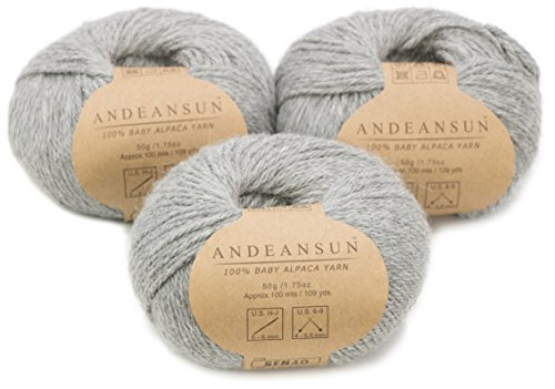 100% Baby Alpaca Yarn Skeins #4 Worsted, Afghan, Aran - Set of 3(Light Gray) - AndeanSun - Luxuriously Soft for Knitting, Crocheting-Great for Baby Garments, Scarves, and Hats-Light Gray ()