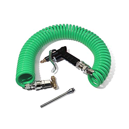 Boeray Heavy Duty Truck Air Duster Blow Gun Cleaning with 9 Meter Long Coil and 2 interchangeable nozzle tips- Green Air Seat Blow Gun Kit