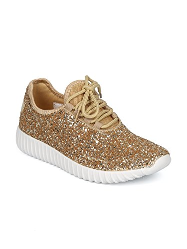 Women Glitter Jogger Sneaker - Lace up Encrusted Joggers - Work Out Fashion Work Out Gym Shoes - HD81 by Liliana Collection - Gold Mix Media (Size: 7.0)