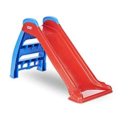 Nothing says fun like a Little Tikes first slide! this Little Tikes kids slide is just the right size for your little one. It folds and unfolds in seconds, which makes it easy to store. This plastic slide promotes fitness, balance and coordination. f...