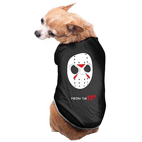 [Friday The 13th Jason Voorhees Mask Pet Cotton T-shirts Black] (Classic Jason Costume)