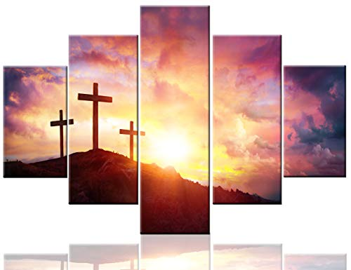 Extra Large Painting Crucifix Wall Cross Posters and Prints on Canvas Jesus Christ Pictures 5 Piece Canvas Modern Artwork Home Decor for Living Room Wooden Framed Stretched Ready to Hang(60