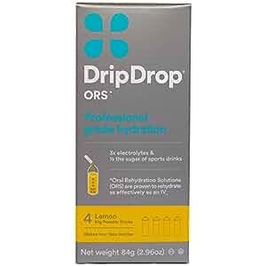 DripDrop ORS 21g Electrolyte Hydration Powder Sticks, Lemon, 4 Count