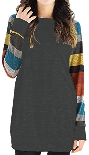 PinupArt Women\'s Color Block Long Sleeve Sweatshirt Cotton Jersey