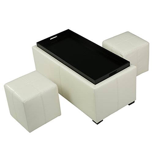 August Off-White 3-piece Leather Tray Top Nested Storage Ottoman Bench