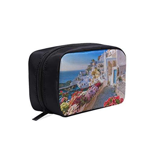 (Traditional And Famous Houses Santorini Portable Travel Makeup Cosmetic Bags Organizer Multifunction Case Small Toiletry Bags For Women And Men Brushes Case)