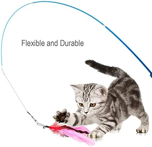 JIARON Feather Teaser Cat Toy, 2PCS Retractable Cat Wand Toys and 10PCS Replacement Teaser with Bell Refills, Interactive Catcher Teaser and Funny Exercise for Kitten or Cats. 6
