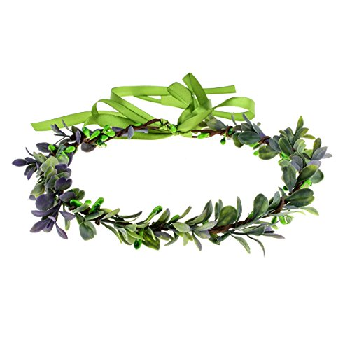 Accesyes Succulent Berry Leaf Headband Festival Halo Wedding Hair Wreath Photography (Green-Violet) -