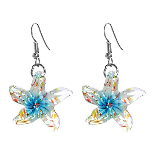Starfish Glass Murano Glass Pendiantes Drop Earrings Cute Wedding Party Earing for Women Gift Jewelry,A