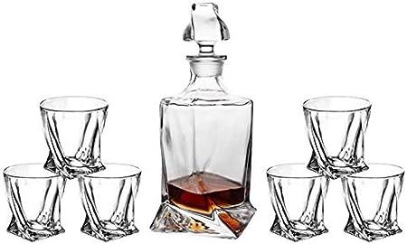 Juego de decantadores de whisky de 7 piezas, decantador de whisky de cristal, decantador de bourbon y conjunto de vidrio, conjunto de decantores de whisky para hombres, licor, gafas escoceses Decanter