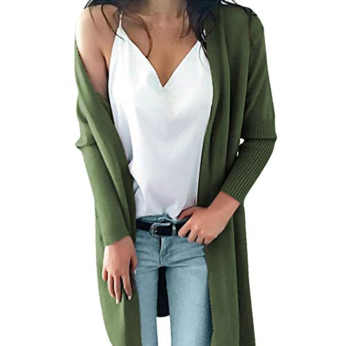Weather Jacket Fox All (kaifongfu Long Sweater Tops,Women Winter Knitted Solid Pockets Blouse Cardigan(Army Green,S))