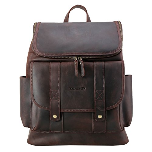 Texbo Vintage Real Cowhide Leather Laptop Backpack Travel Bag Fit 15.6 Inch Laptop by Texbo