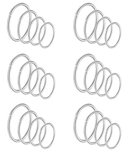 (Masedy 24Pcs 20G 316L Stainless Steel Nose Rings Hoop Tragus Cartilage Helix Piercing Lip Septum Ring Silver Bendable)