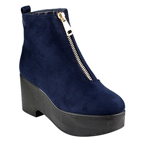 Women's Half Booties and Ankle EJ35 Small Navy Platform One Wedge Zipper BESTON Size 5zH1RnYRq