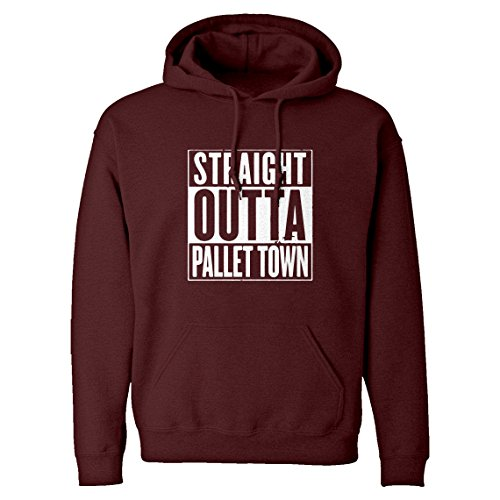 Indica Plateau Hoodie Straight Outta Pallet Town Large Maroon Hooded Sweatshirt