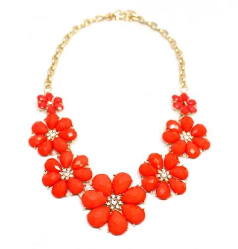 Pave Rhinestone Flower (Lux Accessories Floral Pave Orange Flower Chain Link Necklace)