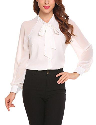Lomon Women's Casual Patchwork Blouse Chiffon Button Down Shirt (Dress Pants Skirt Top Blouse)
