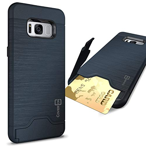CoverON Credit Card Holder Protective SecureCard Series for Samsung Galaxy S8 Plus Case, Navy Blue