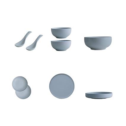 Vajilla De Porcelana Completa Set De 9Piezas-Platos Creativos De Estilo NóRdico, Tazones De