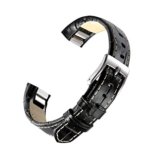 bayite Leather Bands Compatible Fitbit Alta and Alta HR, Bamboo Joint Pattern Black 5.5 - 8.1