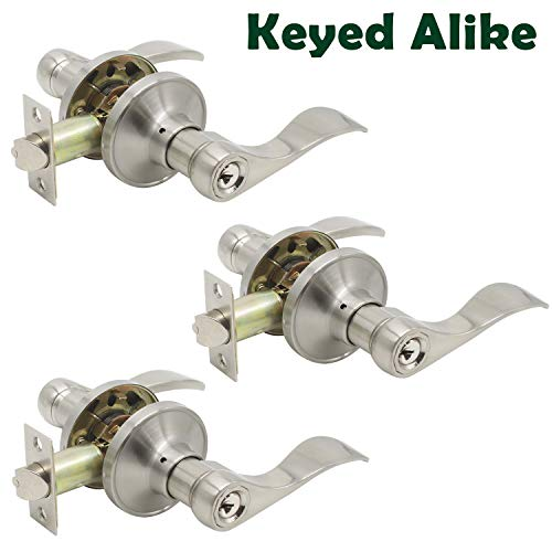 Probrico 3Pcs Satin Nickel One Keyway Entrance Handles Hardware Entry with Key Levers Keyed Alike Door Lockset
