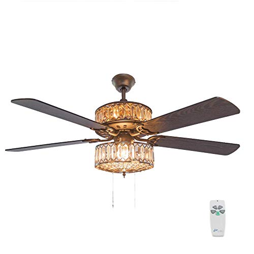 - 52 in. Silver Ceiling Fan with Geometric Diamond Shaped Double-Layered Crystal Shade