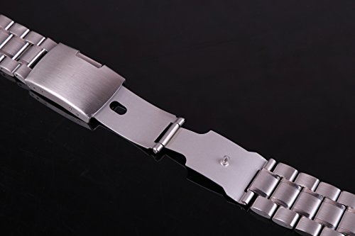 23mm Anti Allergic SS Watch Strap Wristband for Men Silver Solid INOX Steel Brushed Finish Straight End by autulet (Image #6)