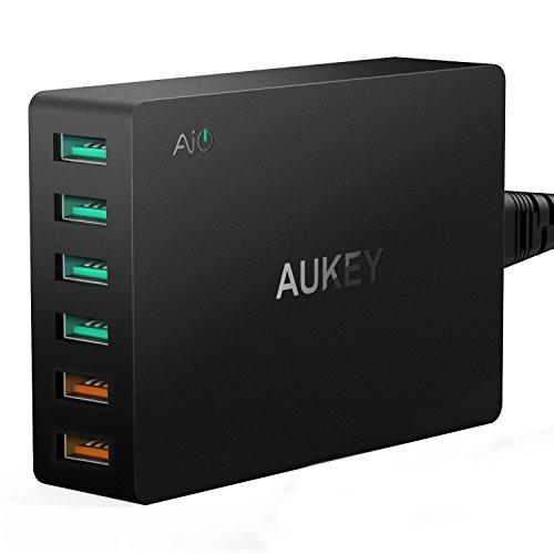 AUKEY Quick Charge 3.0 USB Ladegerät 60W, 2 Ports mit Quick Charge 3.0 & 4 Ports mit AiPower Tech für iPhone, LG und mehr