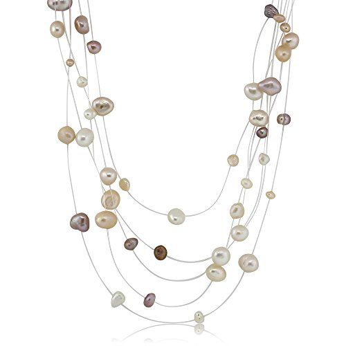 Freshwater Necklace Peach Pearl (17 Inch White Pink & Peach 5-9MM Cultured Freshwater Pearl 5-Row Necklace)