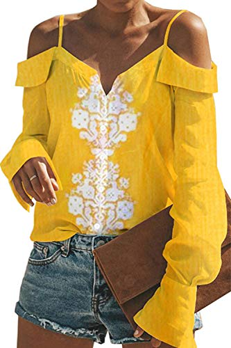 Femmes Blouse De De Jaune Chemises Floral Hors Stringer Tops L'paule Sport r4rPqw