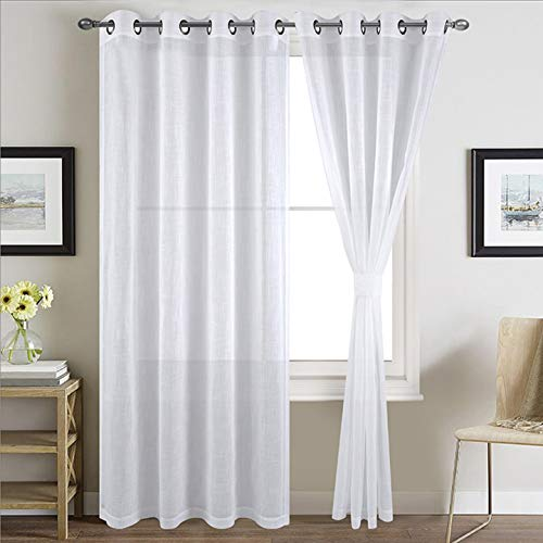 TEXPLUS 2 Pieces Grommet Top or Rod Pocket and Back Tab Solid White Sheer Curtain Panels with Tie Backs (Grommet top, 52