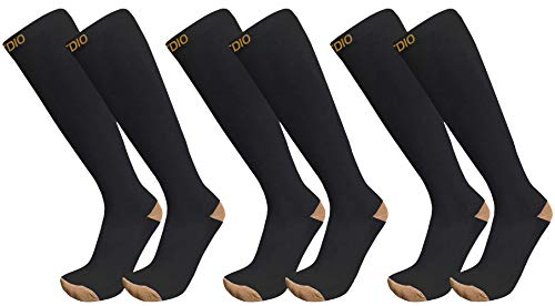 Plus Size Wide Calf 15-20mmHG 3-Pairs Graduated Copper Compression Socks For Men & Women