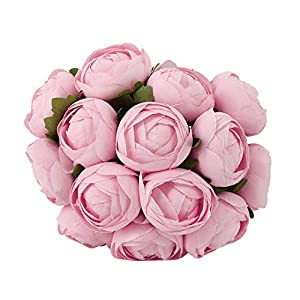 Segreto Artificial Flowers Real Touch Flowers Silk Artificial Rose Flowers Home Decorations for Bridal Wedding Bouquet, Birthday Flowers Bunch Hotel Party Garden Floral Decor,14 PCS(Peach) 74