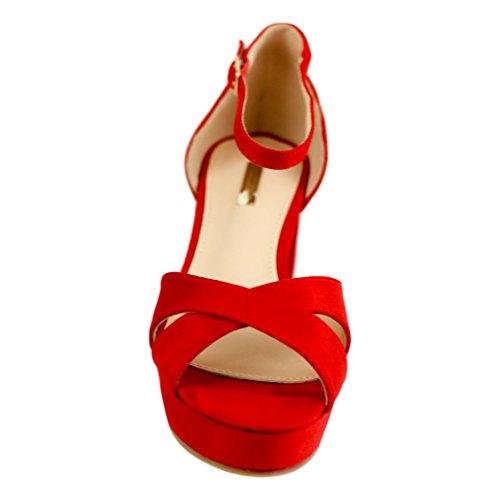 Buonarotti Sandalia de Tacón Destalonada. con Pala Cruzada y Cierre Mediante Hebilla EN el Tobillo. Fabricada EN Antelina Tamaño del Tacón: 6 cm. Rojo