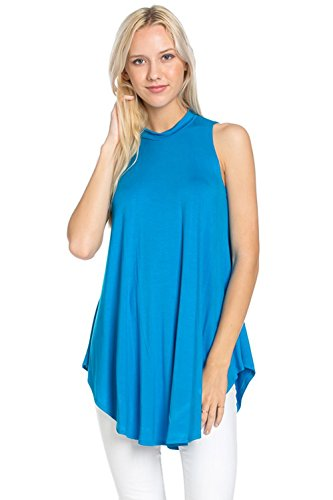 Azules Women's Sleeveless Flowy Mock Turtleneck, Small, Dark Turquoise