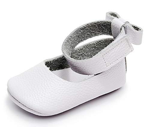 "Bebila  Leather Baby Girls Shoes Ankle Strap Mary Janes Bowknot Baby Sandals Infant Toddler Moccasins (US 3.5/4.33""/ 3-6months/see Size Chart, White) -"