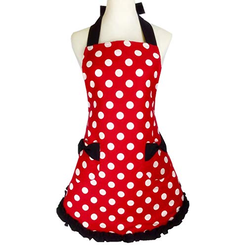 Lovely Sweetheart Red Retro Kitchen Aprons Flirty Woman Girl Bowknot Cotton Polka Dot Cooking Pinafore Vintage Apron with Pockets