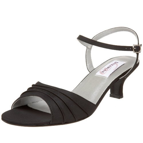Dyeables Women's Brielle Ankle-Strap Sandal,Black Satin,11 M US