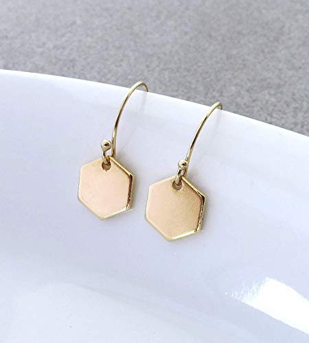 Dainty Minimalist 14K Gold Filled Geometric Hexagon Drop Earrings, Smooth not Hammered