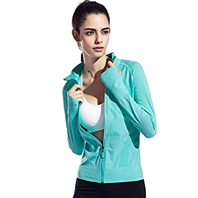 Speedle Women's Stretch Running Workout Yoga Full Zip Jacket with Thumb Holes