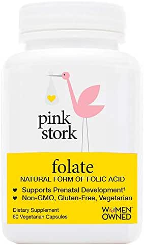 Pink Stork Folate: Superior Form of Folic Acid, Recommended Before and During Pregnancy, 60 Small Capsules