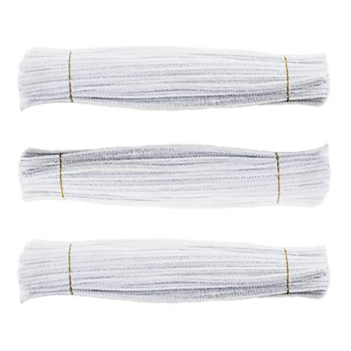 White Chenille Craft Stems - Chenille Stem 300 PCS White Pipe Cleaners 6MM x 12 INCH Twistable Stems Children's Bendable Sculpting Sticks for Crafts and Arts (White)